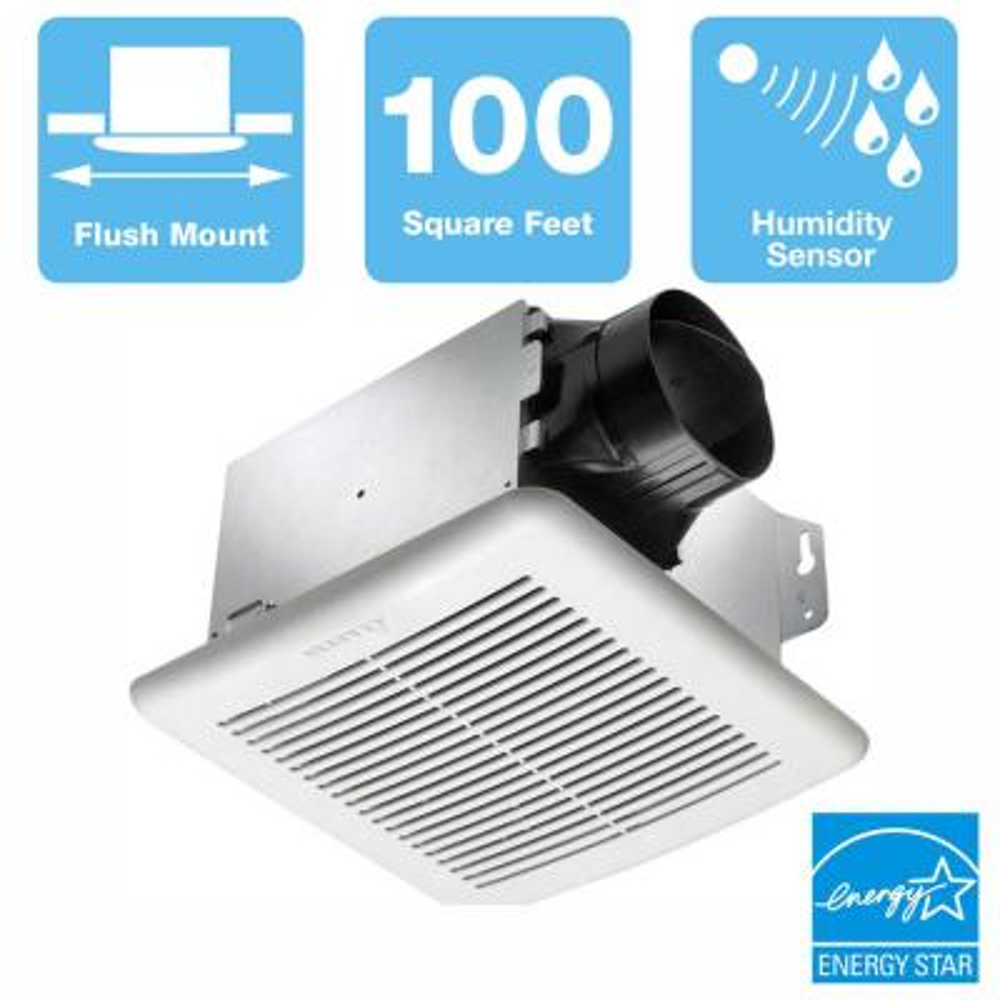 GreenBuilder Series 100 CFM Wall or Ceiling Bathroom Exhaust Fan with Adjustable Humidity Sensor, ENERGY STAR