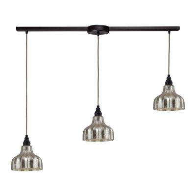 Danica 3-Light Oiled Bronze Ceiling Mount Pendant