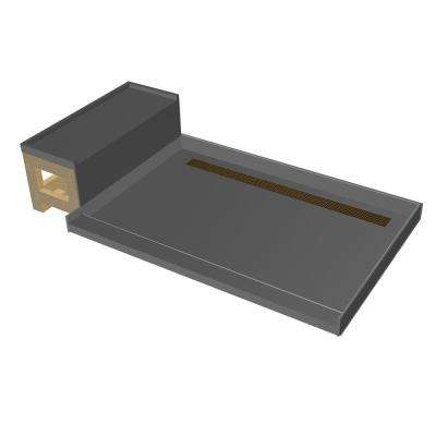 34 in. x 60 in. Single Threshold Shower Base in Gray and Bench Kit with Back Drain and Oil Rubbed Bronze Trench Grate