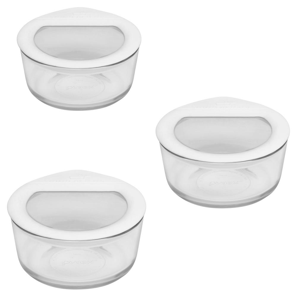 Details About 6 Piece Glass Food Storage Container Sets Round White  Ultimate Lids Home Kitchen