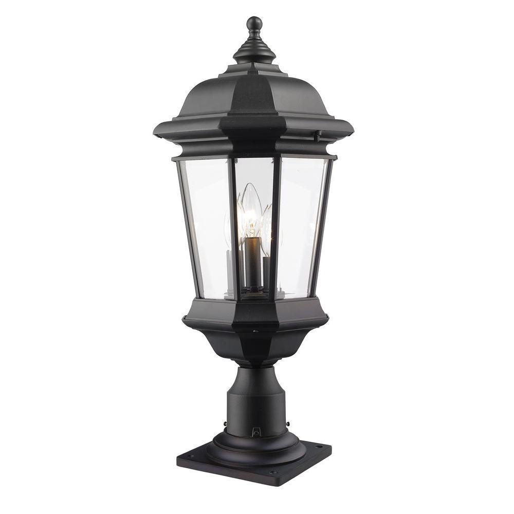 Presley 3-Light Black Outdoor Pier Mount