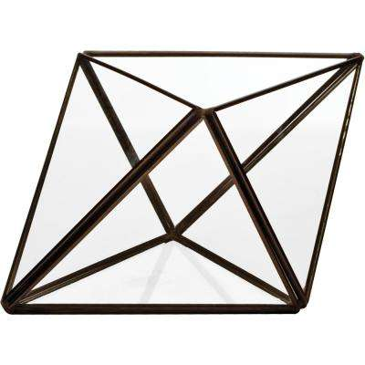 Mika 3.75 in. L x 6.75 in. W x 4.75 in. H Black Faceted Glass Triangle Terrarium