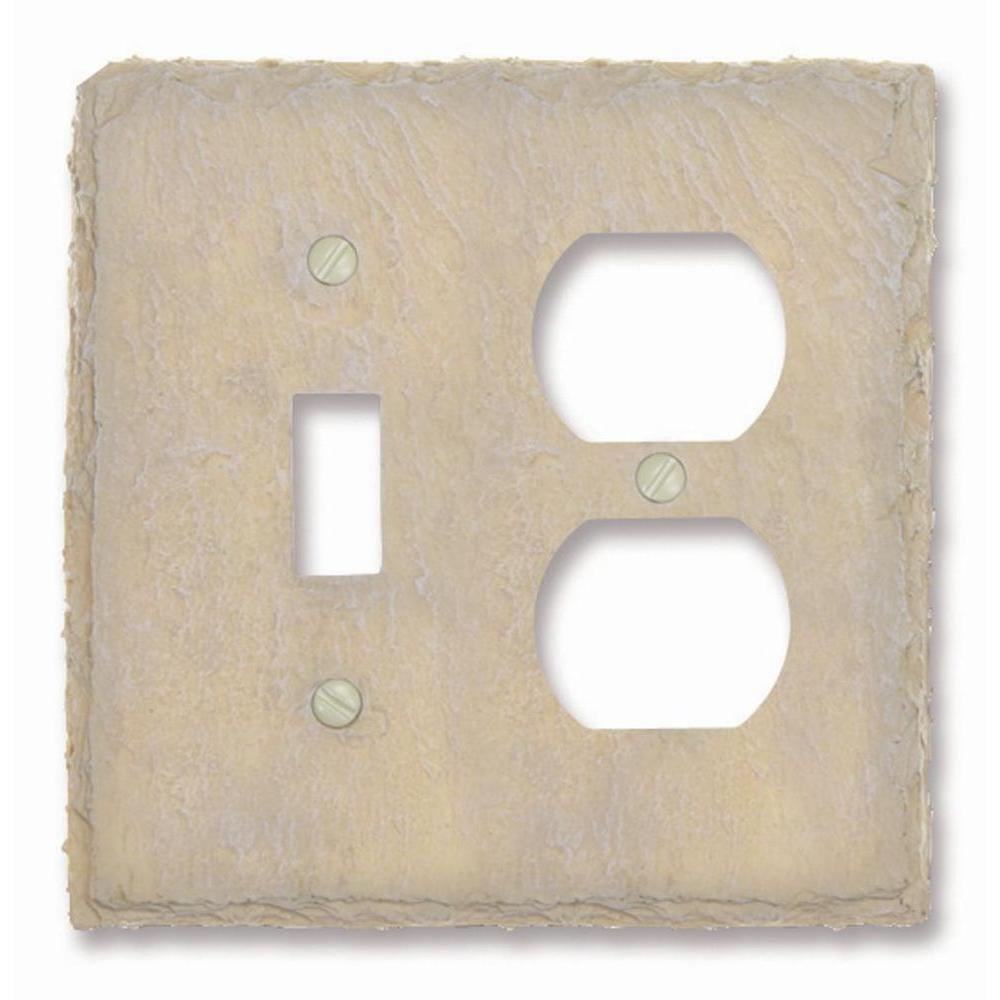 Faux Slate 1 Toggle 1 Duplex Wall Plate - Almond
