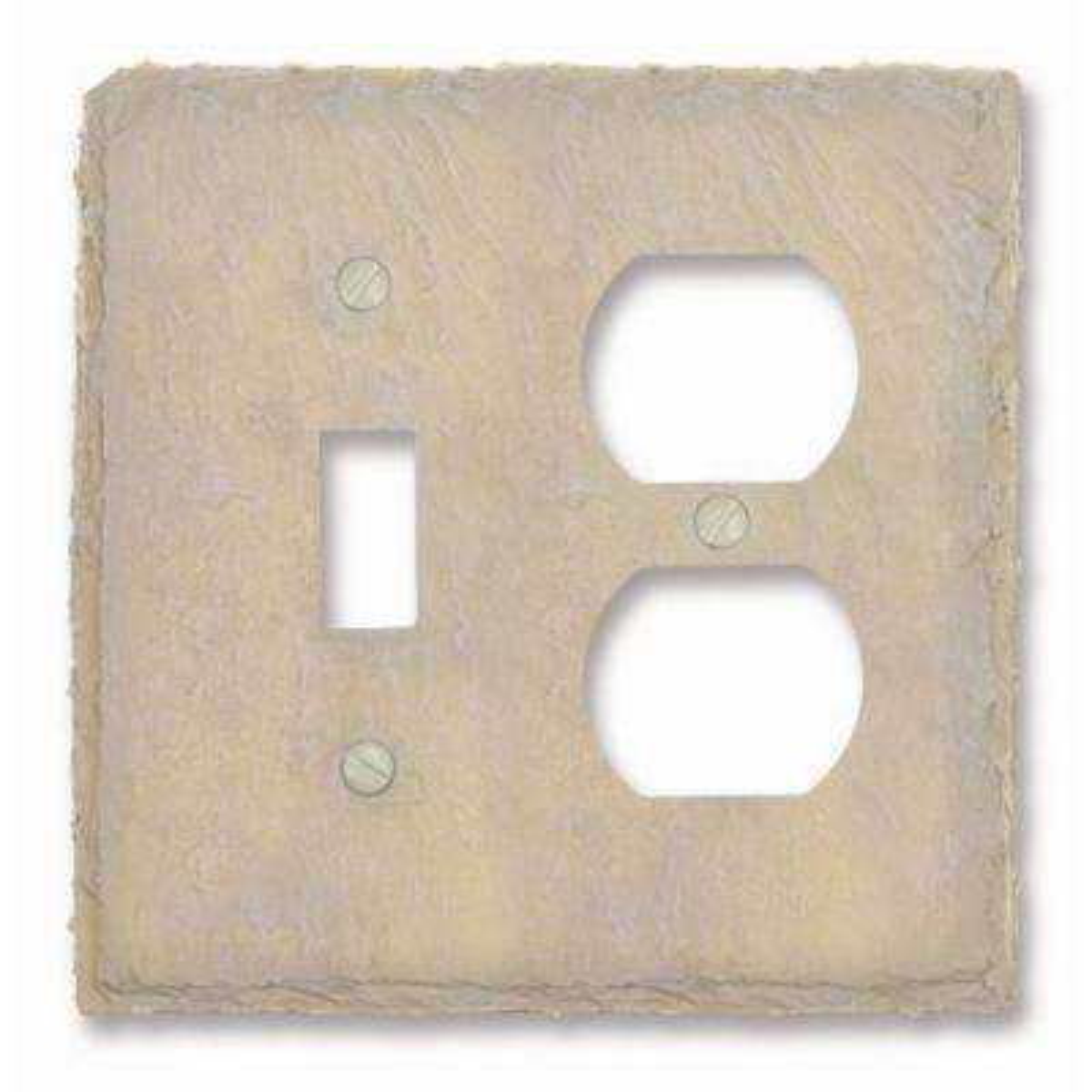 Faux Slate 1 Toggle 1 Duplex Wall Plate - Almond