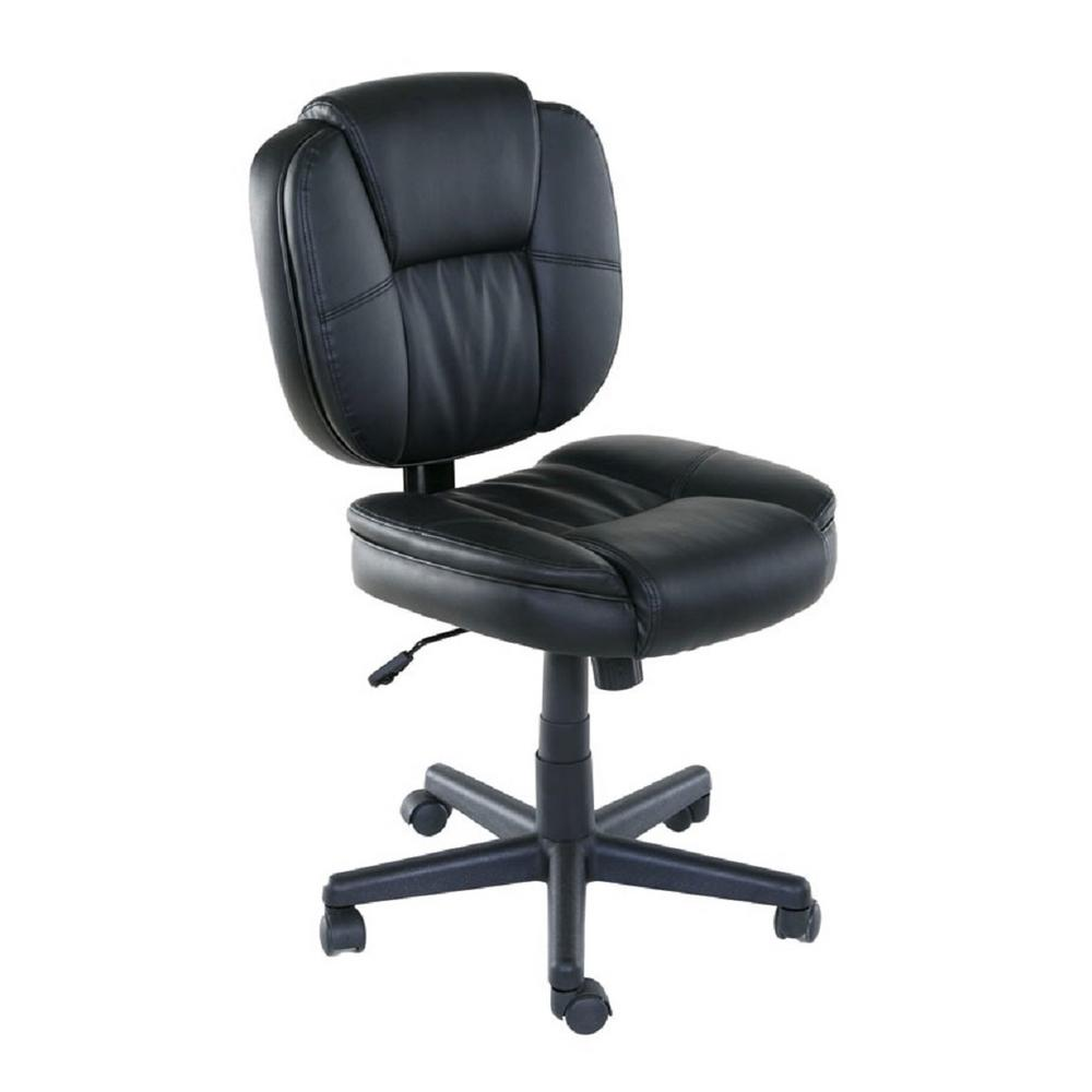 OneSpace Basics Black Mid-Back Plush Task Chair With Tilt
