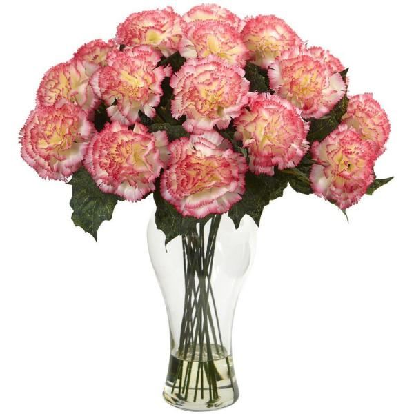 Nearly Natural Peach Carnation Arrangement with Vase 1403-CP