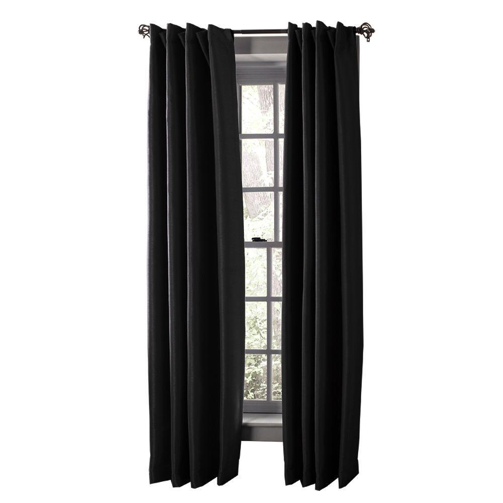Solaris Semi Opaque Black Media Back Tab Curtain 1622299