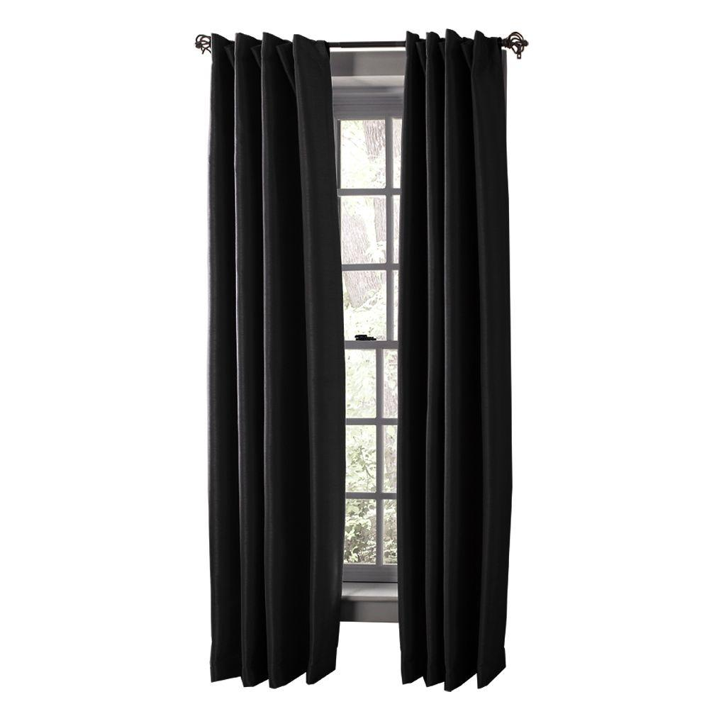 Solaris Semi Opaque Black Media Back Tab Curtain