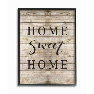 """16 in. x 20 in. """"Home Sweet Home Family Typography"""" by Border Bloom Printed Framed Wall Art"""