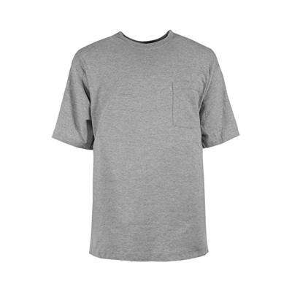 Men's Medium Regular Grey Cotton and Polyester Heavy-Weight Long Sleeve Pocket T-Shirt