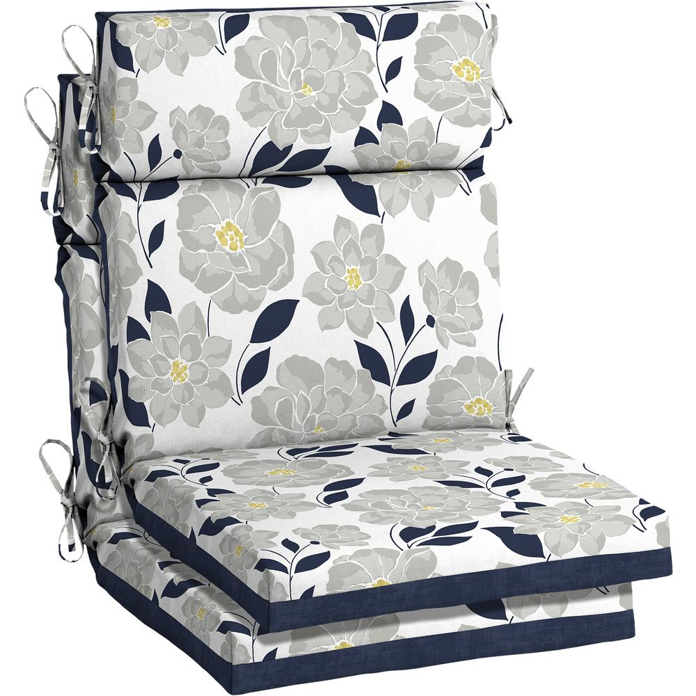 Hampton Bay 21 5 X 44 Flower Show High Back Outdoor Dining Chair Cushion 2 Pack Th0q216a D9d2 The Home Depot