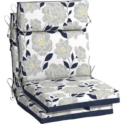 21.5 x 44 Flower Show High Back Outdoor Dining Chair Cushion (2-Pack)