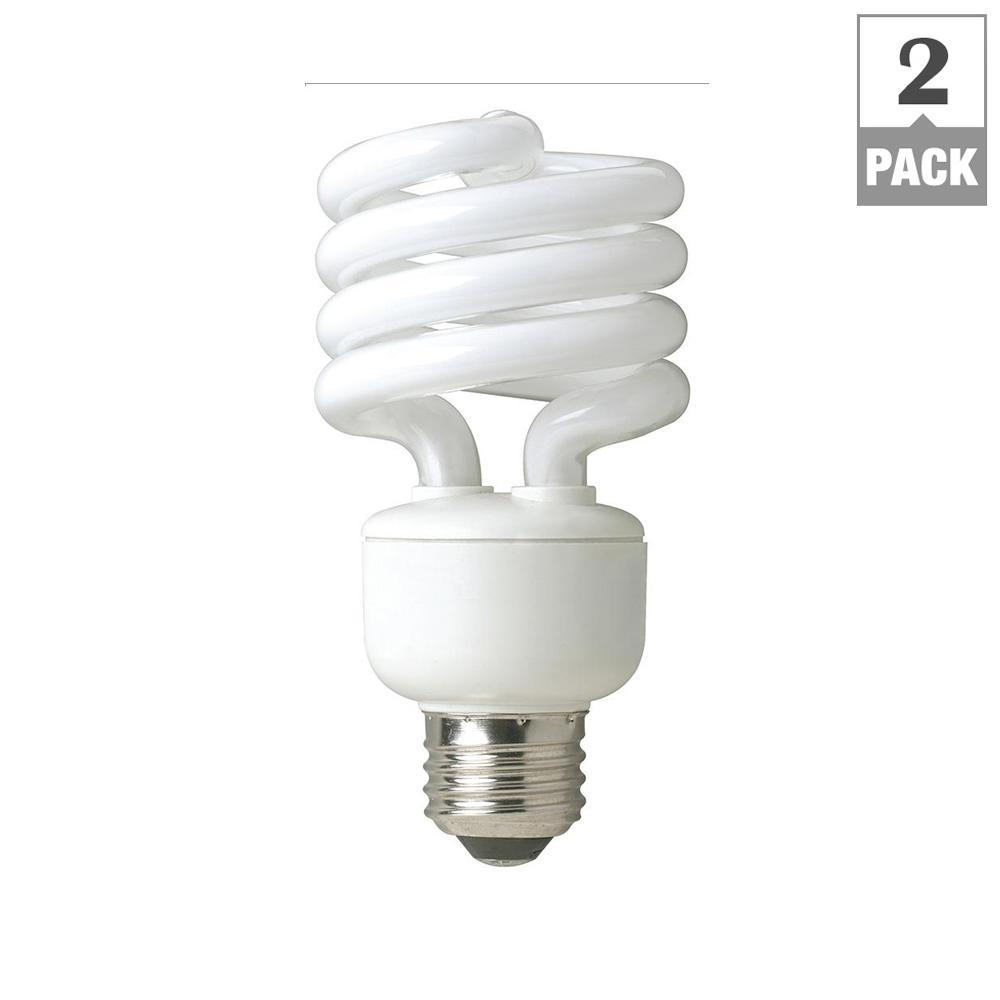 60-Watt Equivalent Daylight Spiral Non Dimmable CFL Light Bulb (2-Pack)