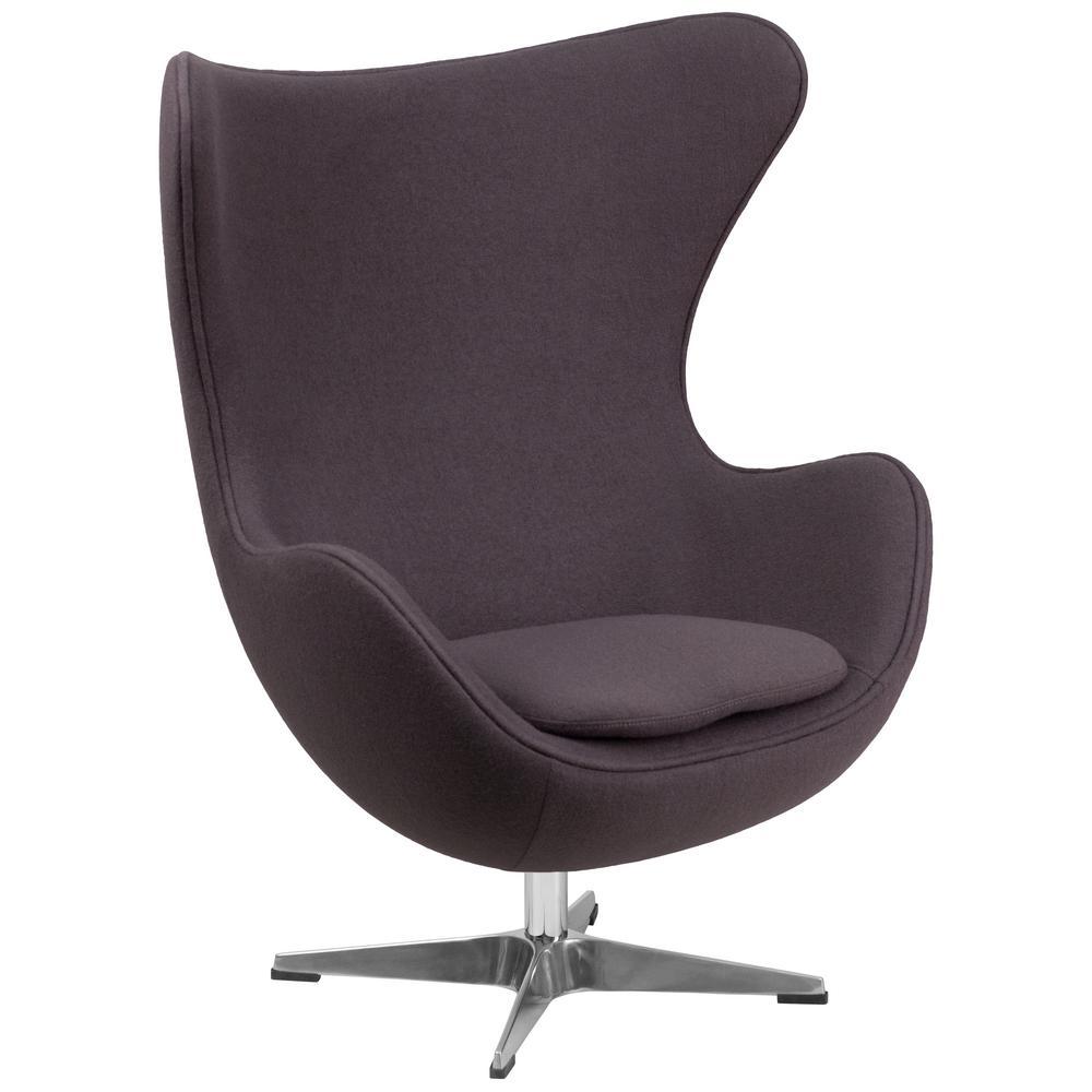 Gray Wool Fabric Egg Chair with Tilt-Lock Mechanism