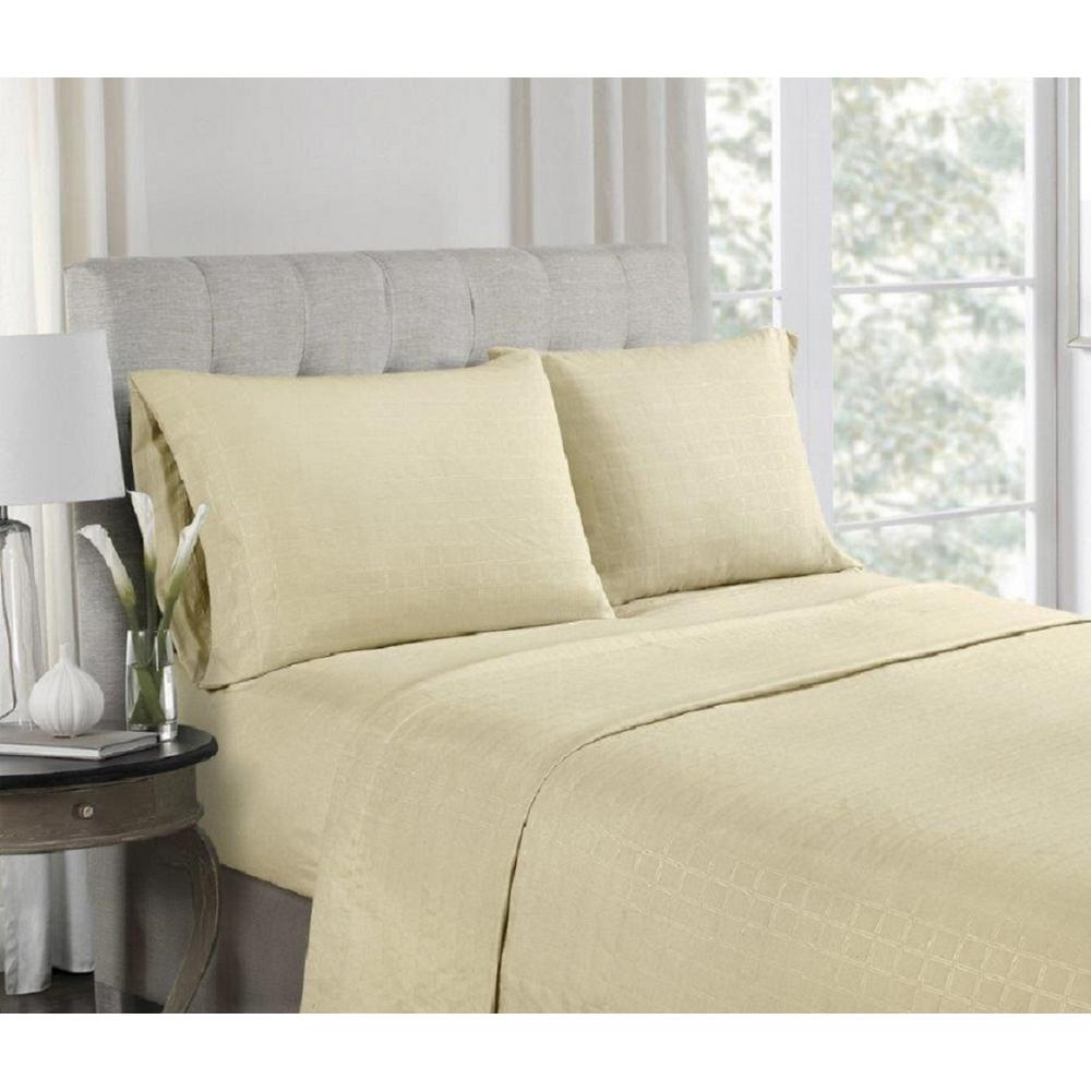 4-Piece Beige Microfiber Embossed Queen Sheet Set