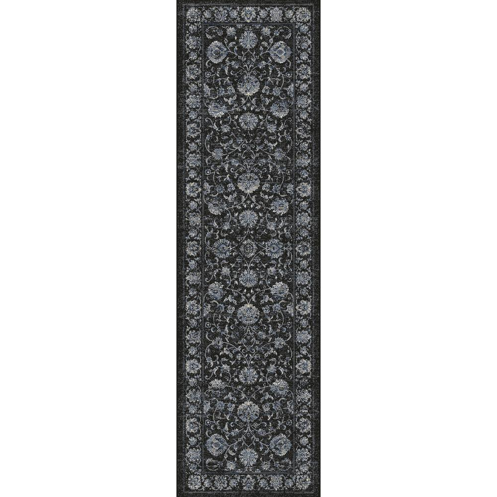Dynamic Rugs Ancient Garden Charcoal Silver 2 Ft X 11 Ft