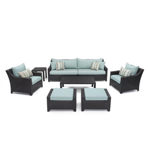 Rst Brands Deco 8 Piece All Weather Wicker Patio Sofa And Club Chair Seating Set With Bliss Blue Cushions Op Pess7 Bls K The Home Depot