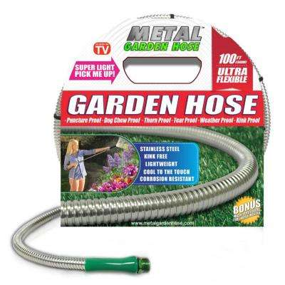 Deluxe 3/8 in. x 100 ft. Stainless Steel Metal Garden Hose