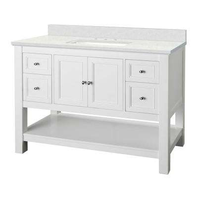 Gazette 49 in. W x 22 in. D Vanity Cabinet in White with Engineered Marble Vanity Top in Snowstorm with White Sink