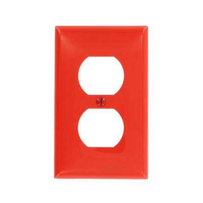 1-Gang Standard Size Nylon Wall Plate and 1-Duplex Receptacle Stamped Emergency in Red