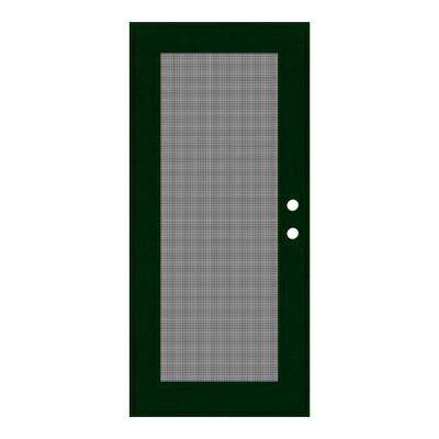32 in. x 80 in. Full View Forest Green Left-Hand Surface Mount Security Door with Meshtec Screen