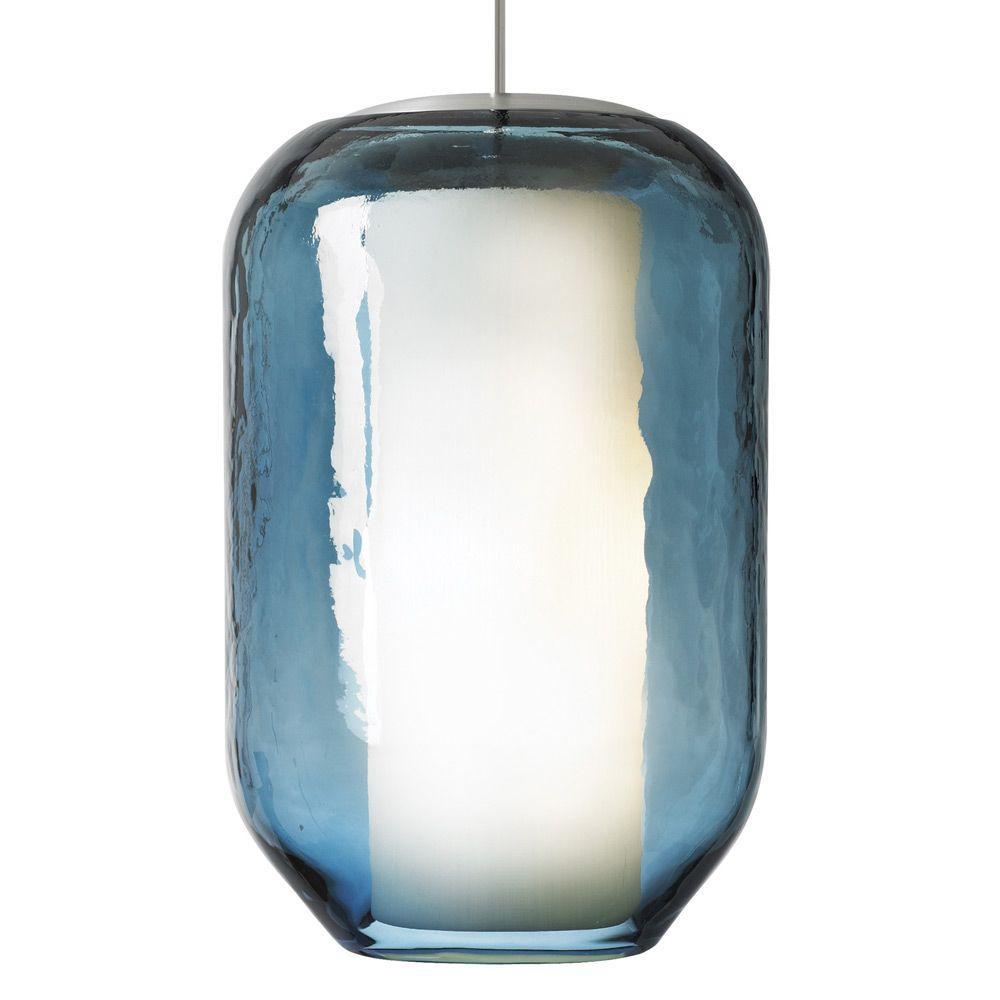 LBL Lighting Mason 1-Light Bronze Steel Pendant with Blue Shade