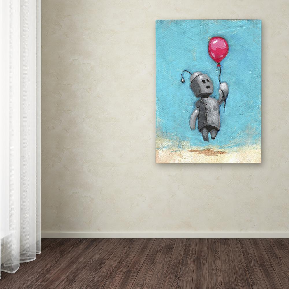 "19 in. x 14 in. ""Robot With Red Balloon"" by Craig"