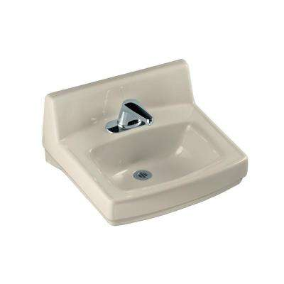 Greenwich Wall-Mount Vitreous China Bathroom Sink in Almond with Overflow Drain