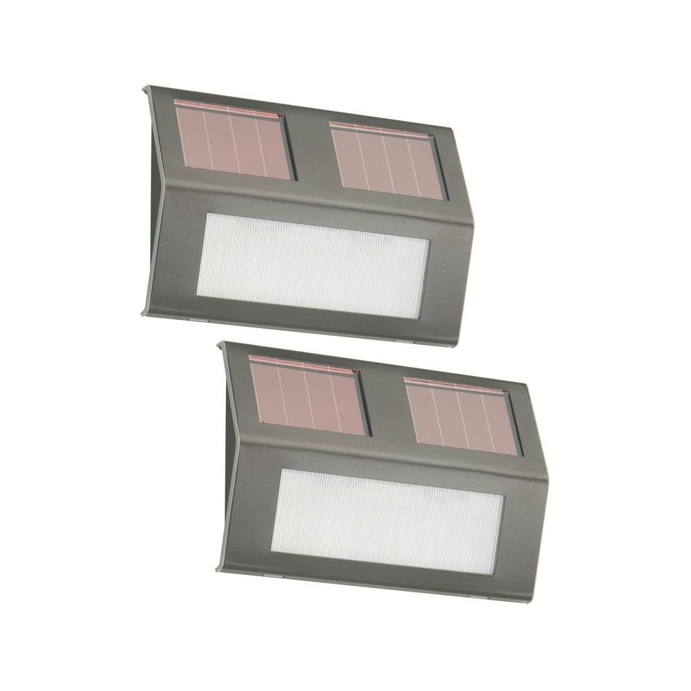 Nature Power Bronze Solar Powered Step Lights (2 Pack) 21060   The Home  Depot