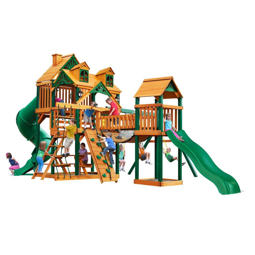 Treasure Trove I Cedar Swing Set with Malibu Roof and Timber Shield Posts