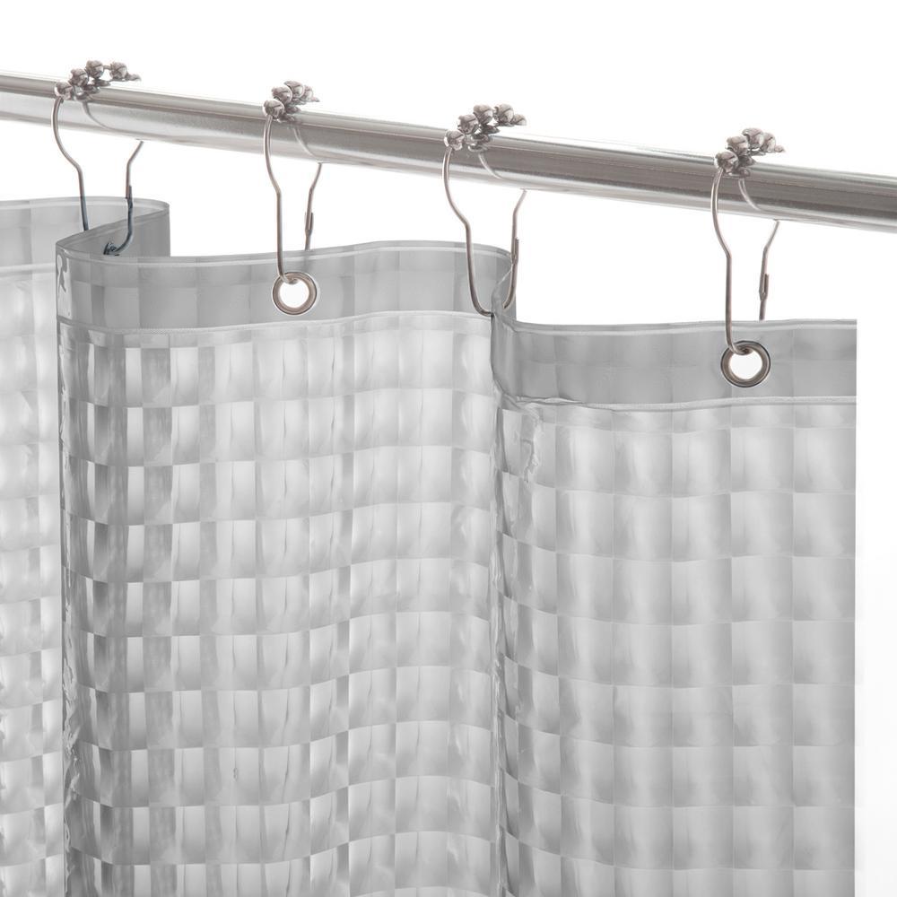 Kenney Peva 72 In Smoke Medium Weight Embossed Shower Curtain Liner