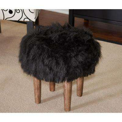 Samarina Black Faux Flokati Ottoman with Distressed Wood Legs