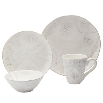 Isabella 16-Piece Glam Ivory Earthenware Dinnerware Set (Service for 4)