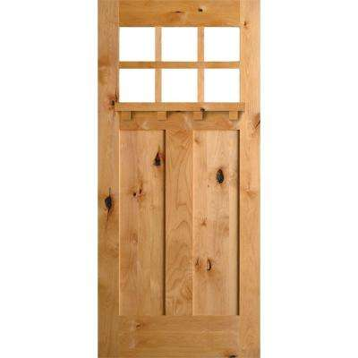 36 in. x 80 in. Craftsman Knotty Alder 6-Lite Clear Glass with Dentil Shelf Unfinished Wood Front Door Slab