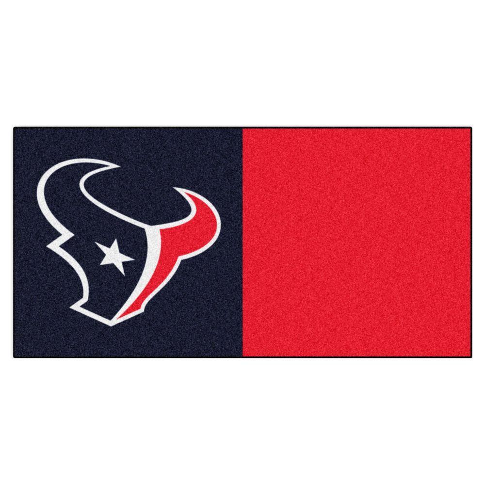 NFL - Houston Texans Black and Red Nylon 18 in. x 18 in. Carpet Tile (20 Tiles/Case)