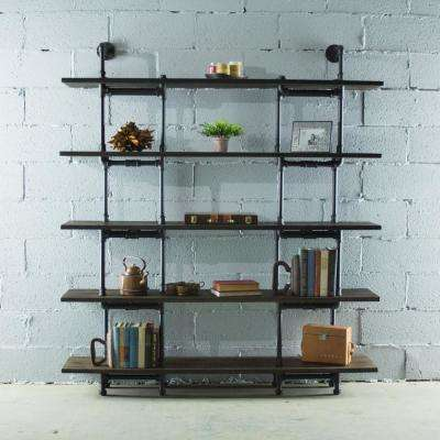 Eugene Modern Industrial, Black 64 in. Large Storage 5-Shelf Pipe Bookcase Etagere-Metal-Reclaimed/Aged Wood
