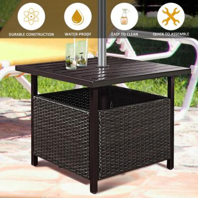 Brown Rattan Wicker Steel Outdoor Side Table Outdoor Furniture Deck Garden Patio Pool