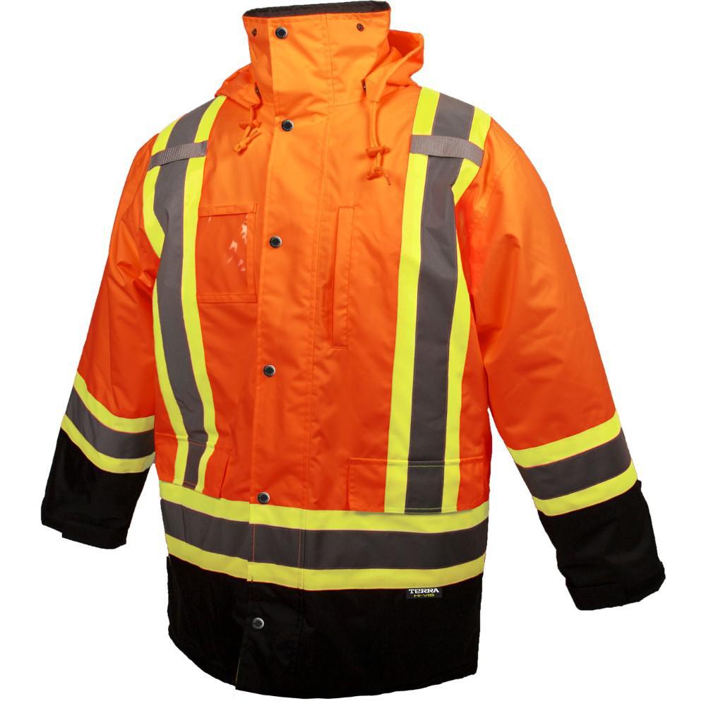 Men's Large Orange High-Visibility Lined Reflective Safety Parka
