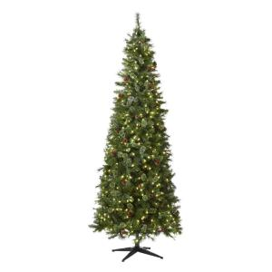 Home Accents Holiday 9 ft Alexander Pine Pre-Lit LED Artificial Christmas Tree with 650 SureBright Warm White Lights