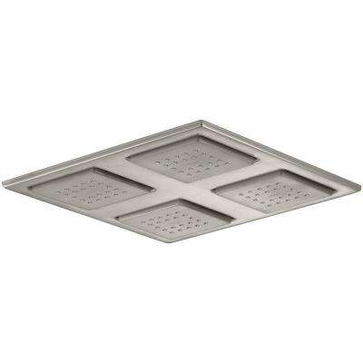WaterTile Rain 1-spray Single Function 9.875 in. Overhead Showerhead in Brushed Nickel