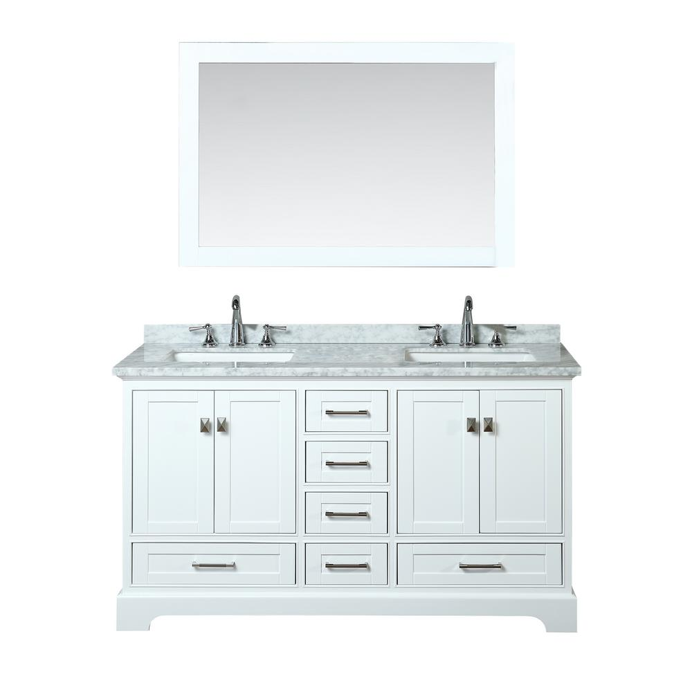 stufurhome Newport 60 in. W x 22 in. D Vanity in White with Marble Vanity Top in Carrara White and Mirror