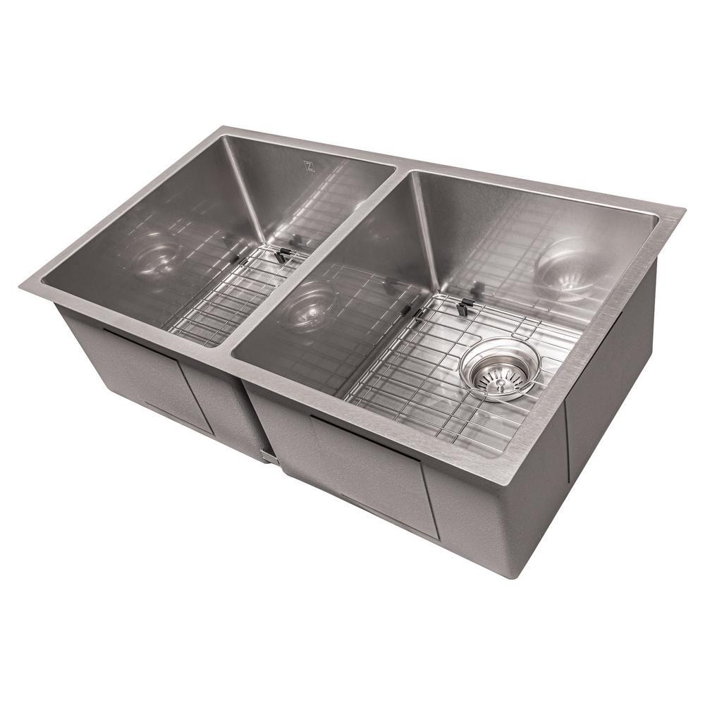 ZLINE 33 in. Anton Undermount Double Bowl Sink in DuraSnow®Stainless Steel