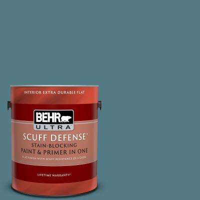 1 Gal. #540F-5 Smokey Blue Extra Durable Flat Interior Paint and Primer in One