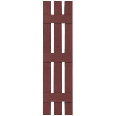 12 in. x 60 in. Lifetime Vinyl Custom Three Board Spaced Board and Batten Shutters Pair Wineberry