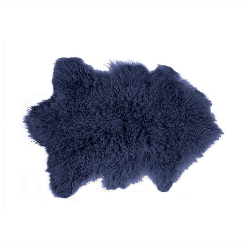 Luxe L Faux Fur Rockwall Ink 2 Ft X 3 Mongolian Sheepskin Double Indoor Rug