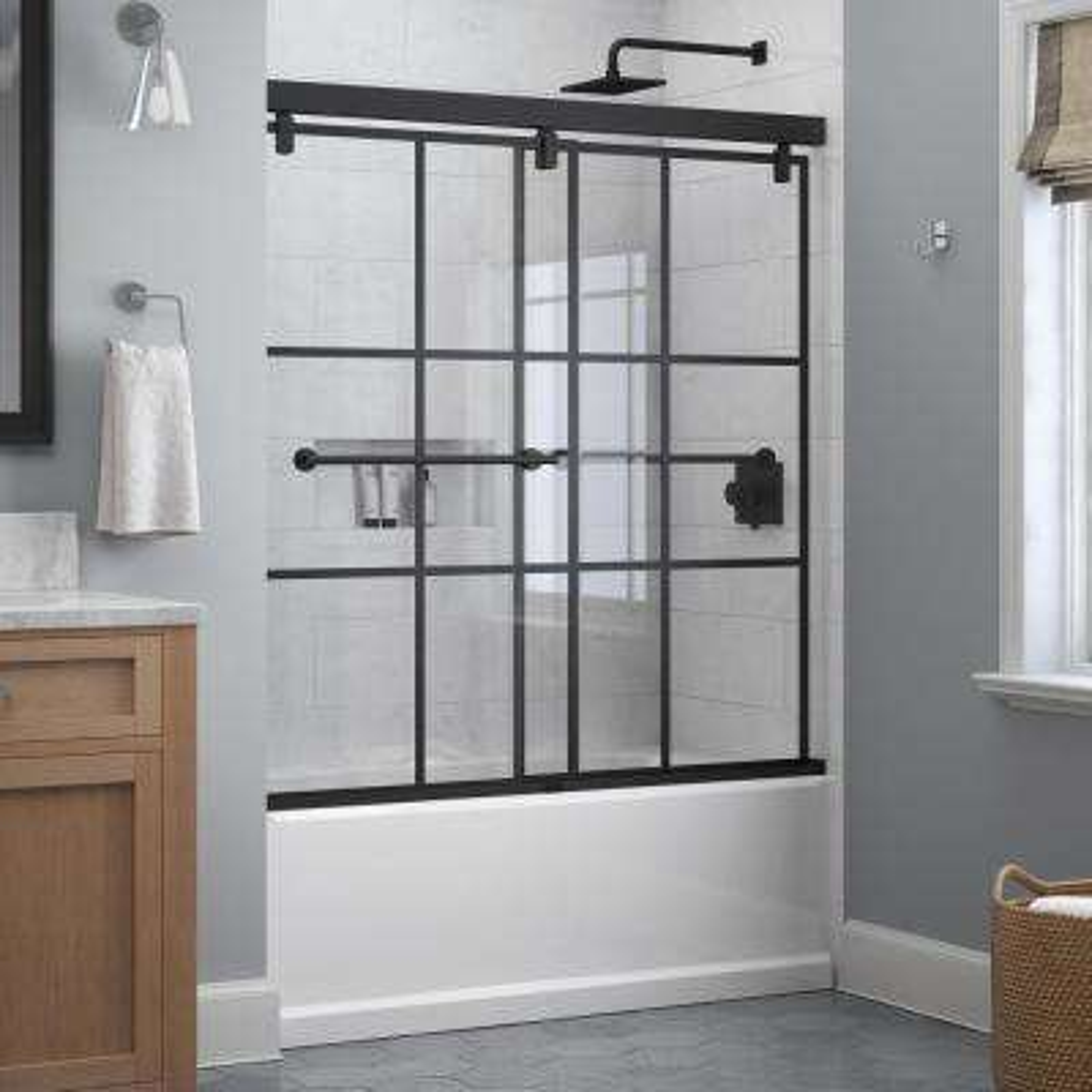 Lyndall 60 in. x 59-1/4 in. Frameless Mod Soft-Close Sliding Bathtub Door in Matte Black with 1/4 in. (6 mm) Ingot Glass