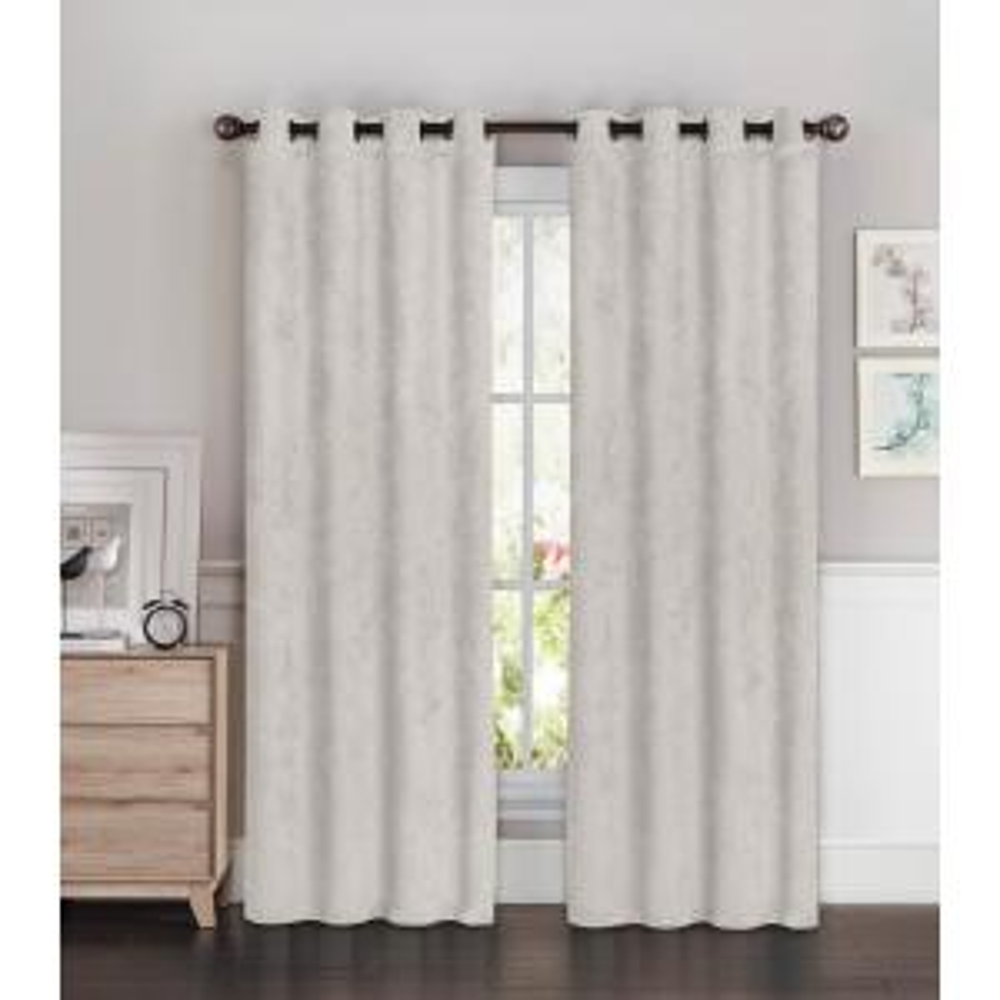 Bella Luna Blackout Faux Suede Extra Wide 96 inch L Room Darkening Grommet Curtain Panel Pair in Light Grey (Set of 2) by Bella Luna