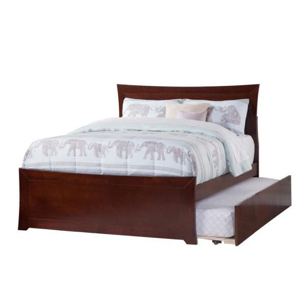 c637b024e03f Atlantic Furniture Metro Walnut Full Platform Bed with Matching Foot Board  with Twin Size Urban Trundle
