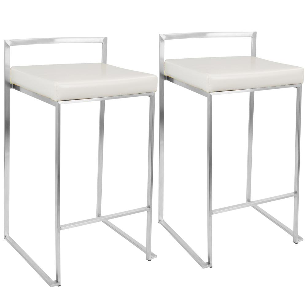 Lumisource Fuji White Stackable Counter Stool Set Of 2