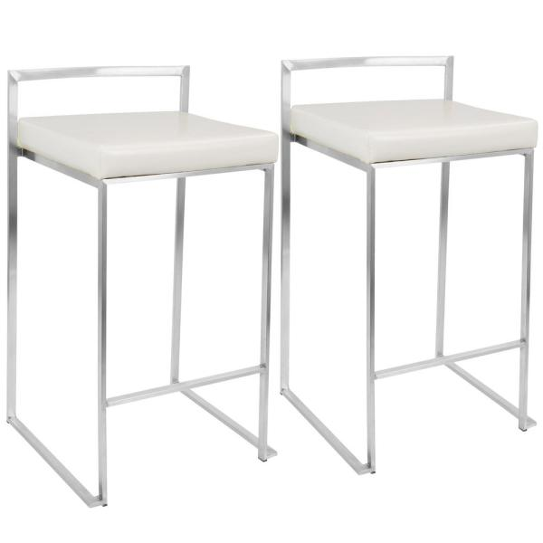 Fuji White Stackable Counter Stool (Set of 2)